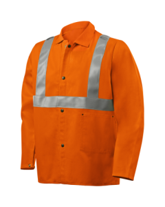 "Steiner/Weldlite 9oz FR Cotton Jacket - 30"" Orange With FR Silver Reflective Stripes"